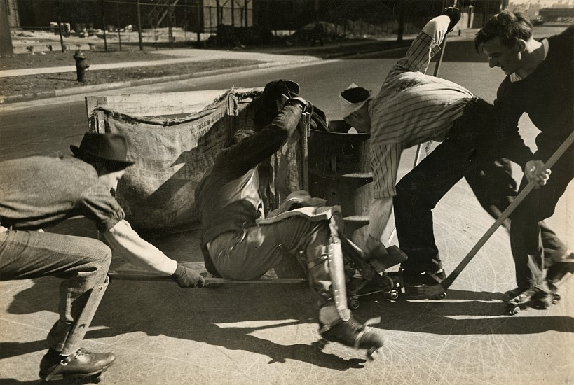 Eliot Elisofon, Hockey players use the street for a rink, cardboard as shinguards, from Playgrounds for Manhattan 1938, Vintage gelatin silver print